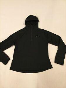 255511-010 Women's Nike Thermal Hooded 1/4 Zip Running Fleece Pullover, Black