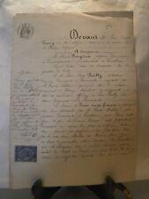 Acte notarié généralité Nancy 1873 transport de créance Remenoville Lorraine