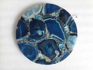"15"" Marble Blue Agate Table Top Pietra dura Handicraft home room decor"