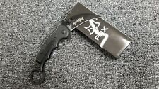 FOX KARAMBIT  Straight Folding Pocket Knife! Claw Spring Assisted EDC Black