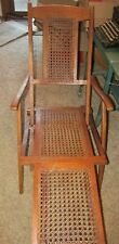 Antique Wooden Folding Deck Chair with Caning-Very Good Condition