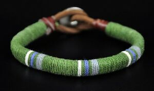 Cool Surfer Cotton Wrap Leather Men's Leather Wristband Bracelet Cuff Green Dk