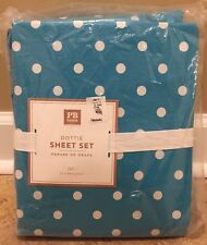 NEW Pottery Barn Teen Dottie FULL Sheet Set AQUAMARINE Polka Dot