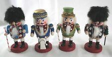 "Set of 4 Wooden Nutcracker Figures Christmas 5 1/2-6 1/2"" Tall Admiral"