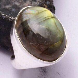 Labradorite Ethnic Handmade Men's Ring Jewelry US Size-9 AR 42495