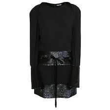 TOM FORD $6,950 draped cape sleeve sequin bell cuff belted sequined dress 42 NEW