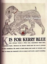 Kerry Blue Terrier Mother & Puppies Dog Vintage Art Print 1940 Clara Tice