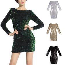 Sequins Dress Women Prom Formal Evening Gown Ball Party Bridesmaid Dress S-XXL