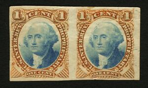 #RB1TC 1c Red-Blue 1871-75 Joseph Carpenter Imperf Plate Proof Pair VF Scarce