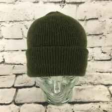 Mens One Sz Hat Army Green Stretch Knit Roll-Up Beanie Warm Winter Cap