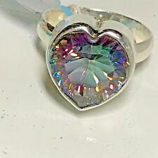 New Sterling Silver .925 Purple Rainbow Mystic Topaz Heart Solitare Ring Sz 7.5