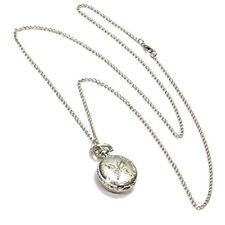 Silver Quartz Butterfly Arabic numerals Pocket Watch with Vintage Necklace O1U7