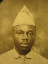 ANTIQUE AFRICAN AMERICAN WW2 ERA PHOTOBOOTH ARMY MAN BUFFALO SOLDIER OLD PHOTO