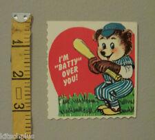Vtg Valentine Card Chicago Cubs Spoof Baseball Teddy Bear Lollipop Holder UNUSED