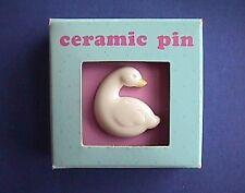 BUY1&GET1@50%~Hallmark PIN Easter MIB SWAN Goose DUCK White CERAMIC Tie Tac Vtg