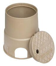 "Storm Drain FSD-62 6"" Round Sprinkler Valve Box w/ Lid - Sand Color"