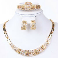 Fashion Jewelry Set Women 18K Gold Plated Necklace Bangle Earring Ring Gift Set