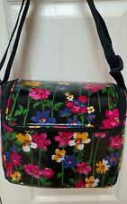 Vera Bradley STAY COOLER WILDFLOWER GARDEN Black Insulated Lunch Box Bag Tote