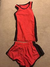 Boys Track Running Compression Singlet & Shorts Red Small S