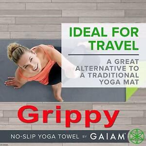 "GAIAM GRIPPY YOGA MAT TOWEL GRAY PINK STORM FITNESS NO-SLIP TRAVEL 68"" x 24"""
