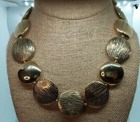 "Gold Tone Textured & Smooth Puffy Coin Statement Necklace 16"" + 1"" K Hang Tag"