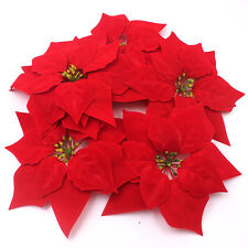24pcs Artificial Flowers Red Poinsettia Xmas Tree Ornaments Festive Winter 8Inch