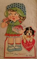 Vintage Mechanical Moveable Valentine Greeting Card Peppermint Girl Dog Germany