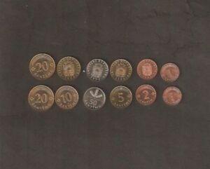LATVIA 1 2 5 10 20 50 SANTIMS 1992-2003 UNC COIN X 6 Pcs Set Red Lion Griffin EU