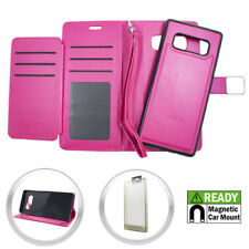 For Samsung Galaxy Note 8 - Hot Pink Wallet Card Magnetic Detachable Case Cover