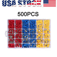 500pcs Assorted Insulated Electrical Wire Terminals Crimp Connectors Spade Set