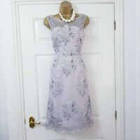MONSOON ✩ DRESS ANISA SILVER LACE FIT & FLARE MOTHER OF BRIDE WEDDING ✩ UK 10