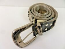 "Vintage Unisex Mesh Metal & Beads Belt Silver Size 27"" 70cm GRADE A BA251"