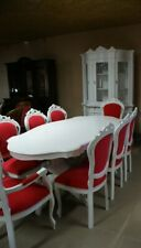 TABLE BAROQUE STYLE  TABLE + 8 CHAIRS - WHITE/ PINK #SEN48