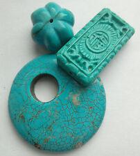 3 Bleu Turquoise Pierres Précieuses Perles Pendentif/Focal/Citrouille. fabrication de bijoux/perles
