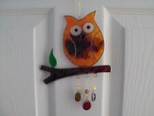 Hanging Owl Suncatcher, Colourful Resin indoor or garden ornament.