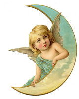 Angel Moon Blue VINTAGE ADVERTISING ENAMEL METAL TIN SIGN WALL PLAQUE