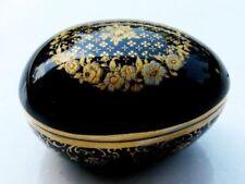 "Limoges Castle Porcelaine 2 3/8"" Cobalt Egg Trinket, Pill, Pin Box"