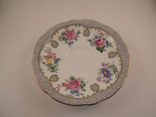 Aynsley Bone China Saucer Pattern A4687 Floral Scrolls Gold Trim Scalloped