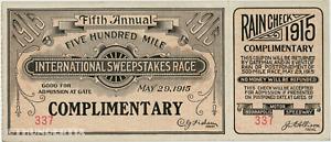 1 1915 INDIANAPOLIS INDY 500 AUTO RACING VINTAGE UNUSED FULL TICKET  laminated