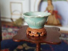 Dollhouse Miniature Artisan Joan Westphal Porcelain Lotus Bowl Stand Signed 1:12