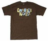 Crowded House Distressed Name Logo Brown T Shirt New Official Band Merch