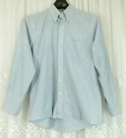 Vtg Mens Sears Roebuck Button Down Shirt L Blue White Stripe Oxford Long Sleeve
