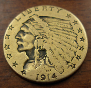 US 1914 Gold $2.50 Quarter Eagle Indian Head Jewelry Removed