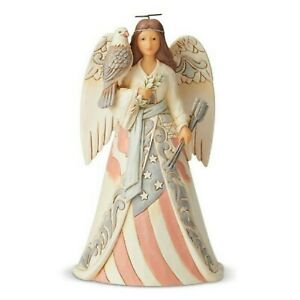 Jim Shore White Woodland Patriotic Angel With Eagle Strong Of Heart 6005256 MIB