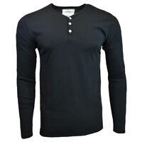 Men's Henley Long Sleeve Shirt -ZW- Slim Fit -Pullover Button Blouse- BLACK