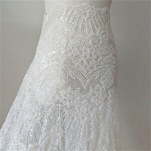 Off-White Beaded Lace Fabric,Slight Stretch on 2 Way,Wedding Dress,Bridal Dress