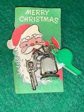 VINTAGE MERRY CHRISTMAS MINIATURE CARD WITH GUMBALL CHARMS 1940'S RARE!!!