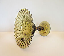 Smoky Amber English Hobnail Compote with Ball Stem and Ruffled Edge