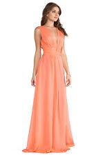 ISSA London Goddess Metra Jersey V Neck Coral Chiffon Maxi Gown Dress US 2 UK 6