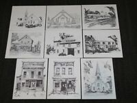 VINTAGE 9 SKETCHES OF ALTAMONT NY VILLAGE LANDMARKS 100th ANNIVERSARY by NAVILIA